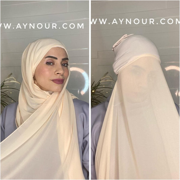 Nude Simon 2 layers inner cab and scarf Instant Hijab 2021 - Aynour.com