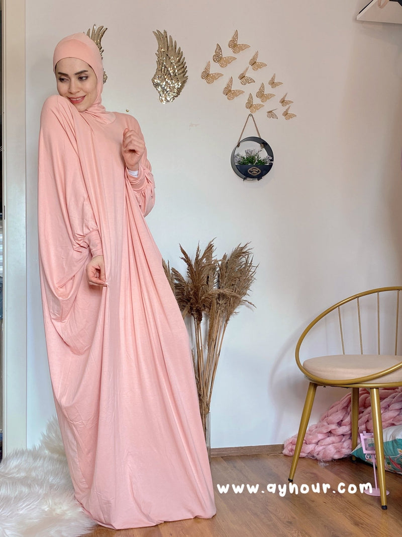 Nude warm Breathable Prayer 1Piece Headscarf and long jilbab abaya many styles Hijab Luxurious Cotton Lycra - Aynour.com