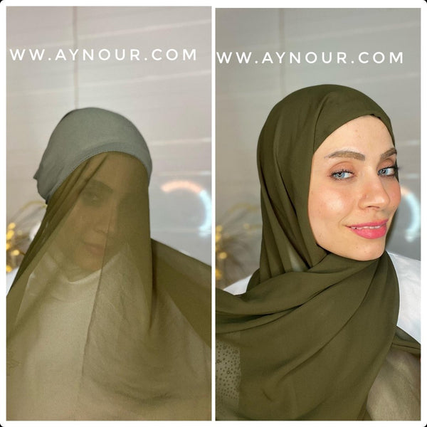 Olive green 2 layers inner cab and scarf Instant Hijab 2021 - Aynour.com