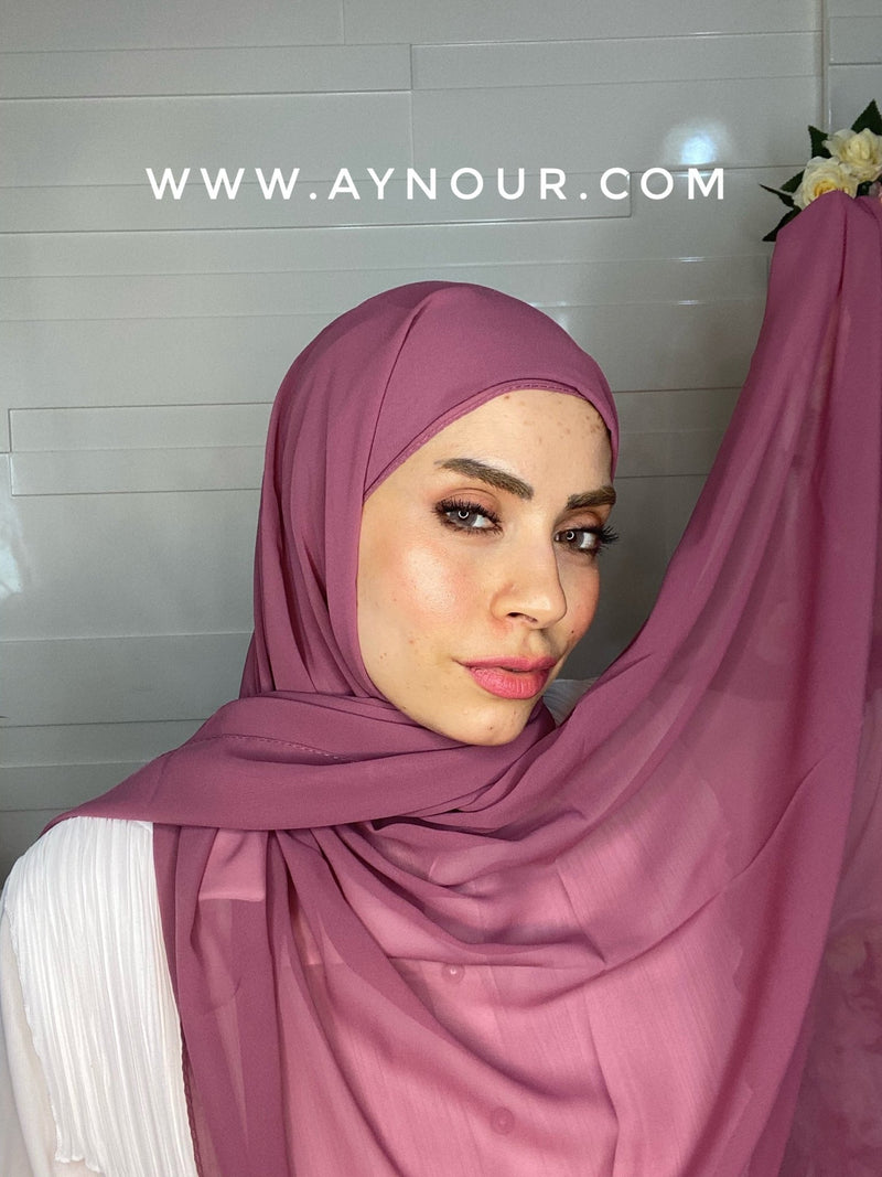 Orchid PURPLE 2 layers inner cab and scarf Instant Hijab 2021 - Aynour.com