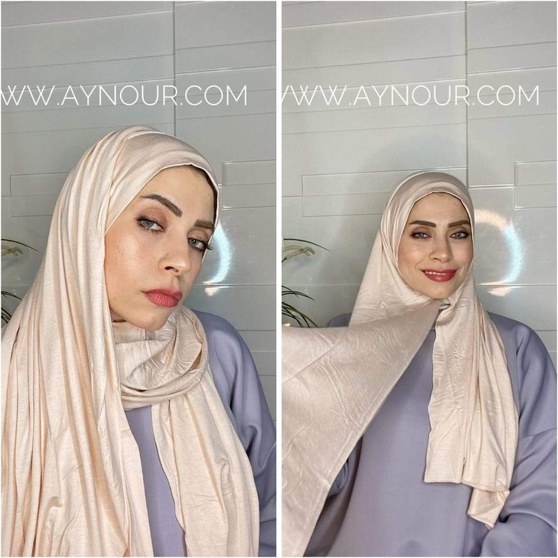 Paige cotton luxurious smart no pin scarf Instant Hijab 2021 - Aynour.com