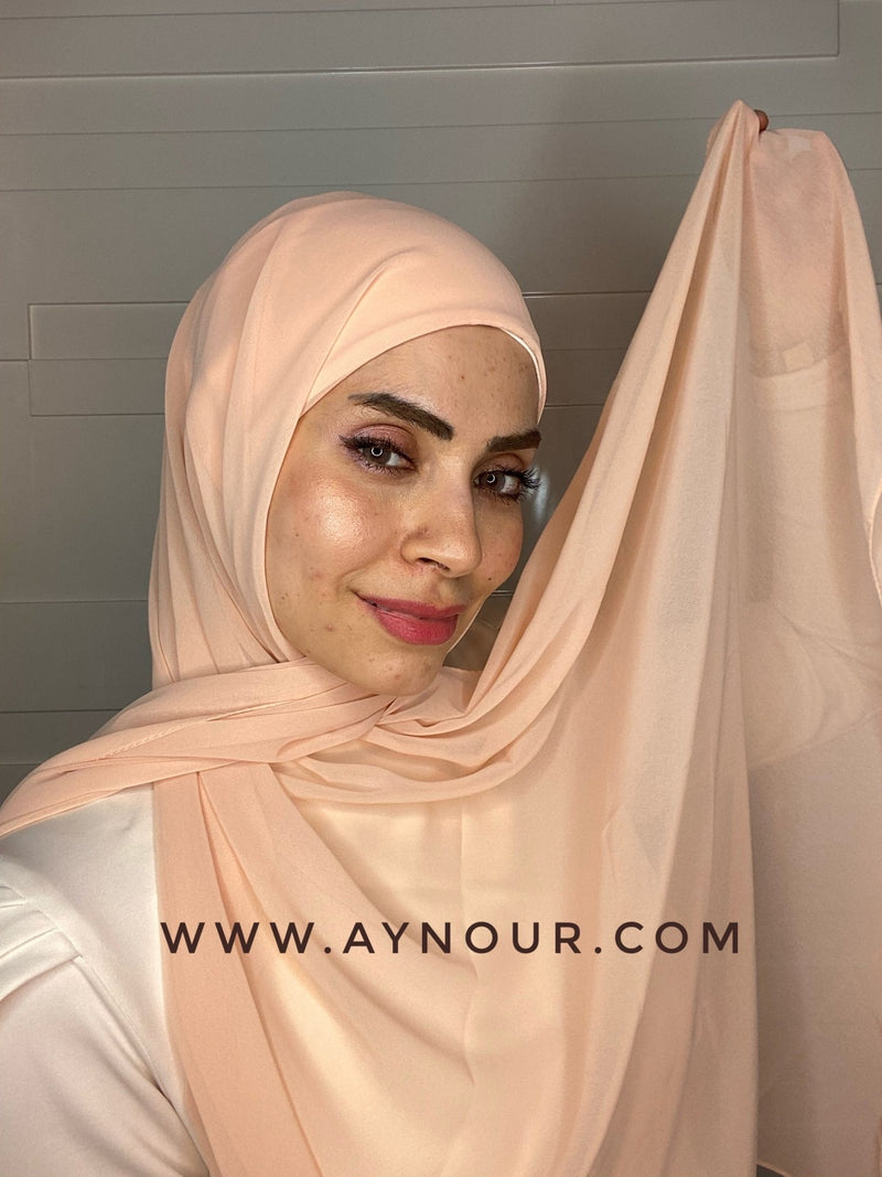 Peach 2 layers inner cab and scarf Instant Hijab 2021 - Aynour.com