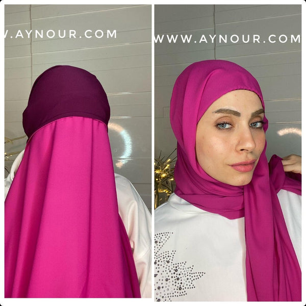 pink 2 layers inner cab and scarf Instant Hijab 2021 - Aynour.com