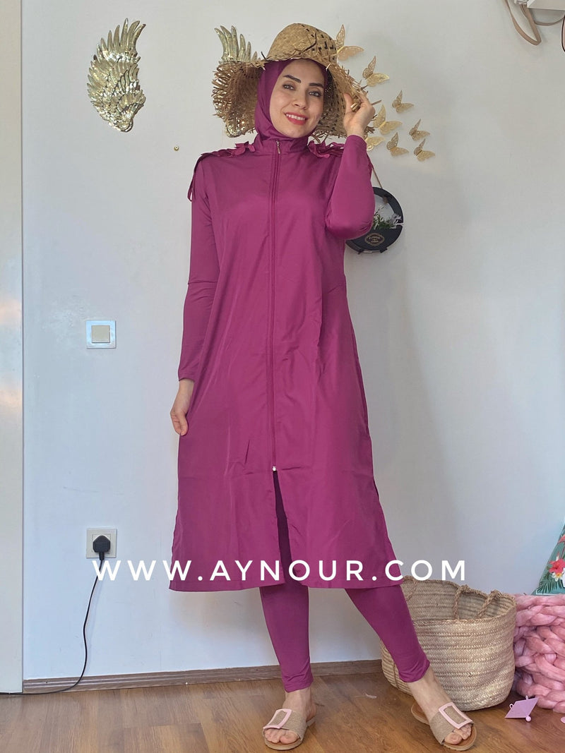 Pink butterfly full suit 4 pieces swimming wear hijab burkini Collection - Aynour.com