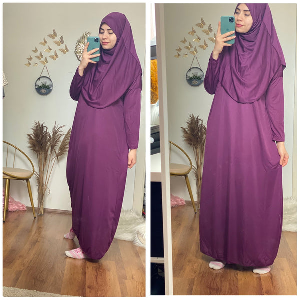 Purple sandy Prayer 1Piece Headscarf and long jilbab attached Islamic Hijab - Aynour.com