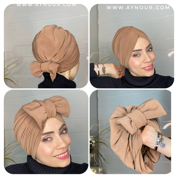 Ribbon turban brown 2 styles instant Hijab 2021 - Aynour.com