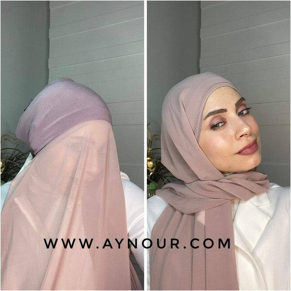 Rose nude 2 layers inner cab and scarf Instant Hijab 2021 - Aynour.com