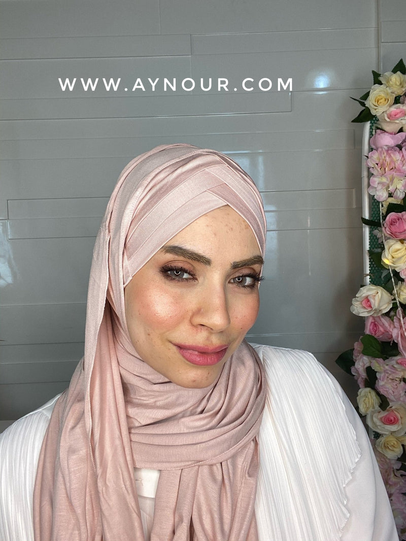 Rose nude cross cotton luxurious smart no pin scarf Instant Hijab 2021 - Aynour.com