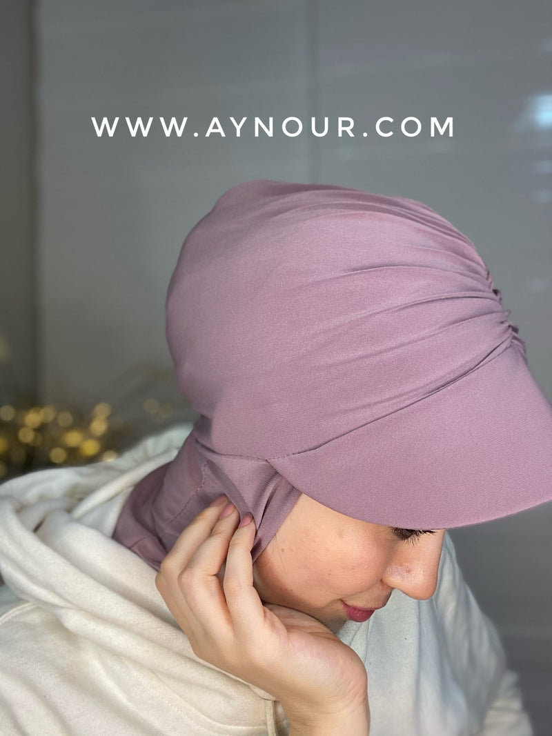 Rose nude Stylish cap hijab hat on instant Hijab 2021 - Aynour.com