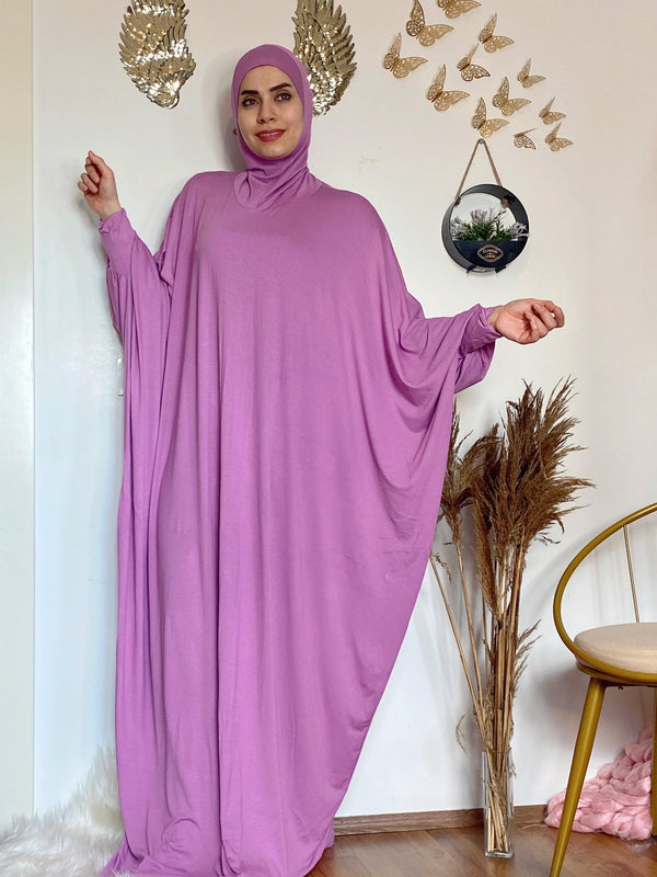 Rosy Breathable Prayer 1Piece Headscarf and long jilbab abaya many styles Hijab Luxurious Cotton Lycra - Aynour.com