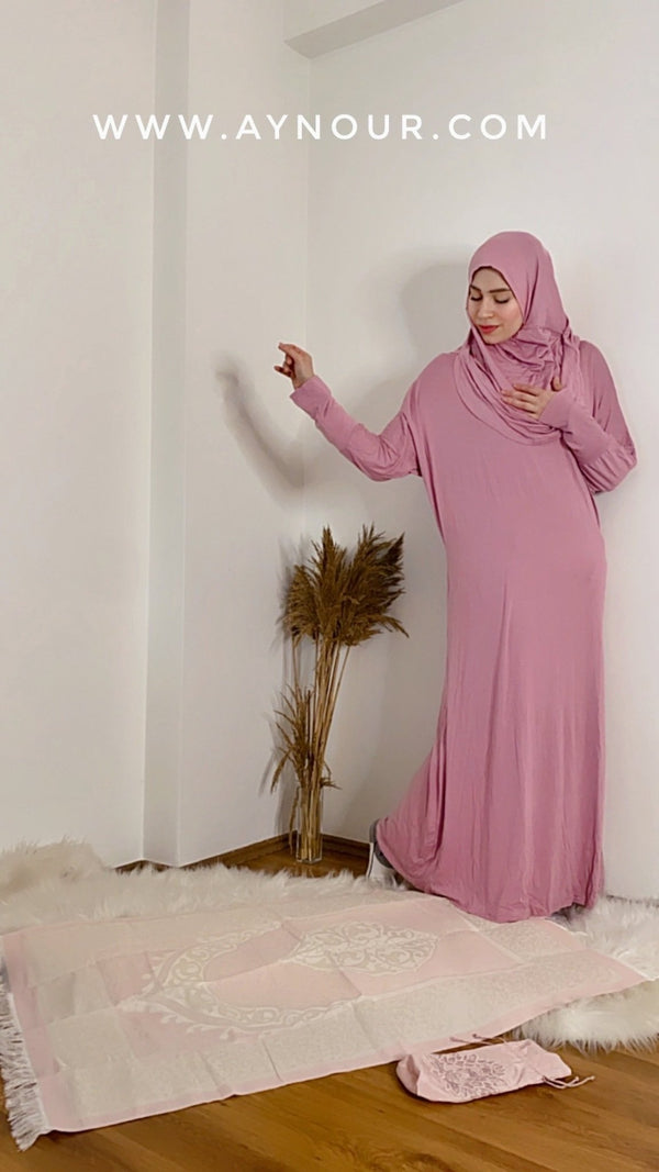 Rosy Breathable Prayer 1Piece Headscarf and long jilbab attached Islamic Hijab Luxurious Cotton Lycra - Aynour.com