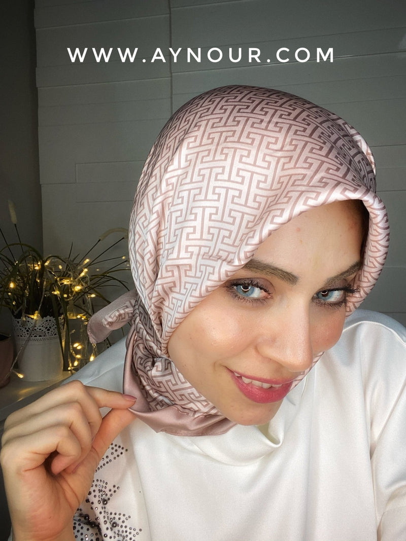 Rosy elite satin squared classy non transparent luxurious fabric Hijab 2021 - Aynour.com