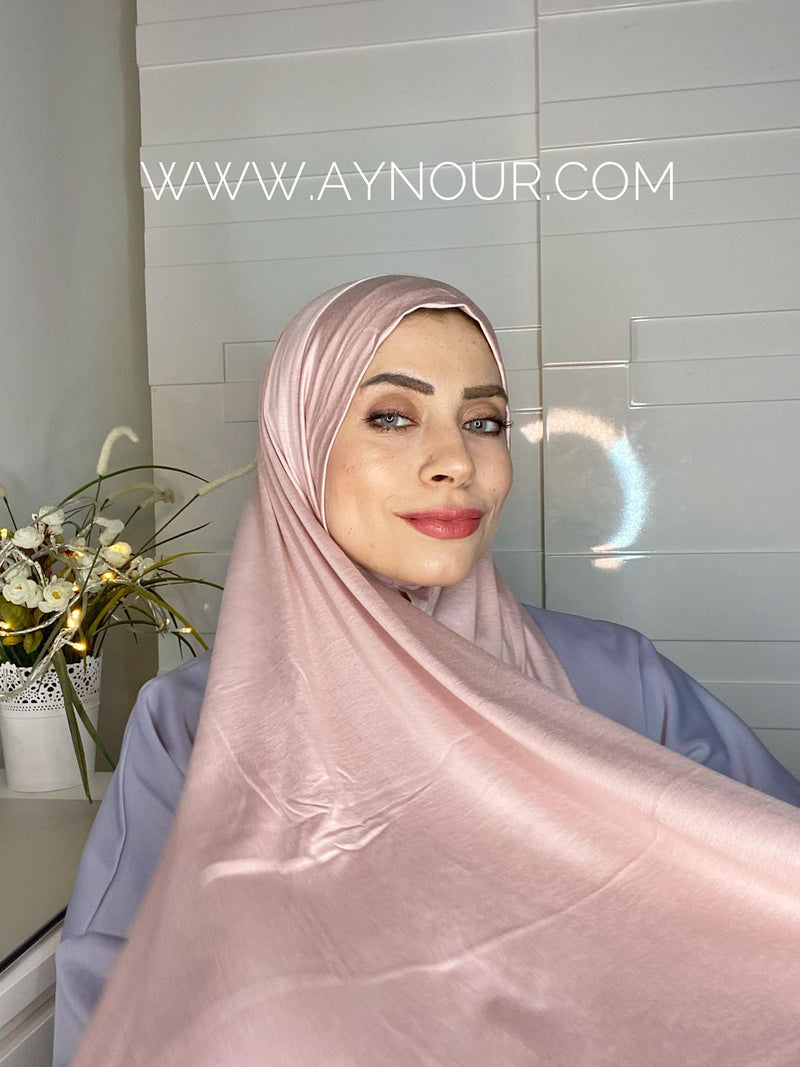 Rosy Nude cotton luxrious smart no pin scarf Instant Hijab 2021 - Aynour.com