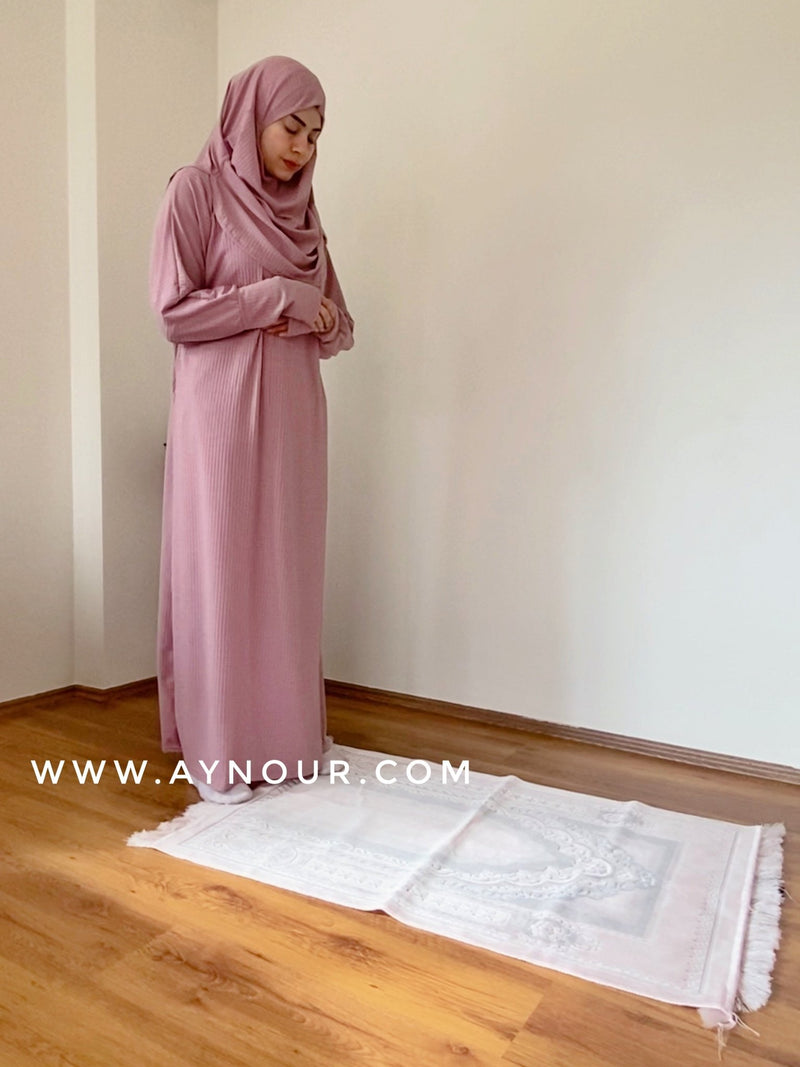Rosy Prayer 1Piece Headscarf and long jilbab attached Islamic Hijab Luxurious non iorn - Aynour.com