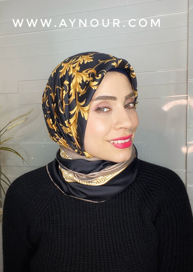 Royal black and gold satin squared classy non transparent luxurious fabric Hijab 2021 - Aynour.com