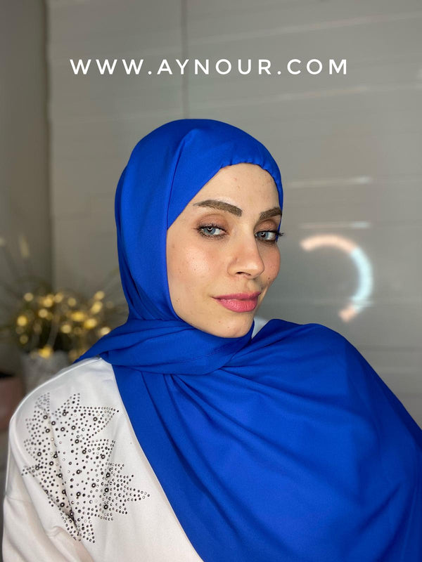 Royal blue 2 layers inner cab and scarf Instant Hijab 2021 - Aynour.com
