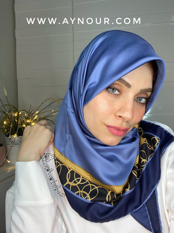 Royal blue and gold satin squared classy non transparent luxurious fabric Hijab 2021 - Aynour.com