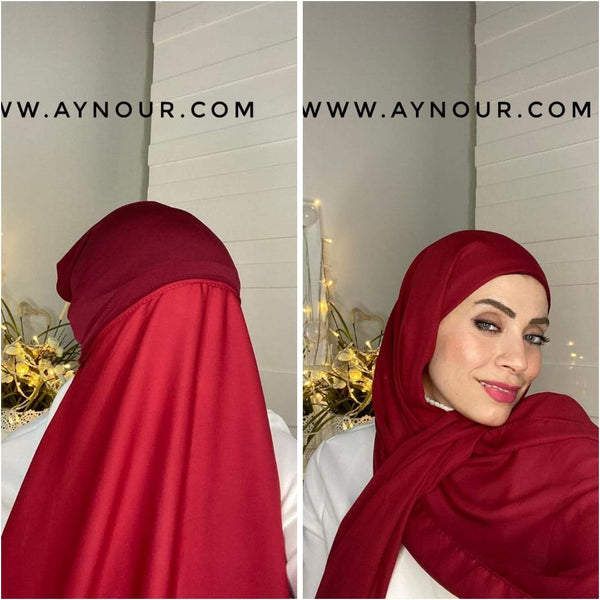 RUBY RED 2 layers inner cab and scarf Instant Hijab 2021 - Aynour.com