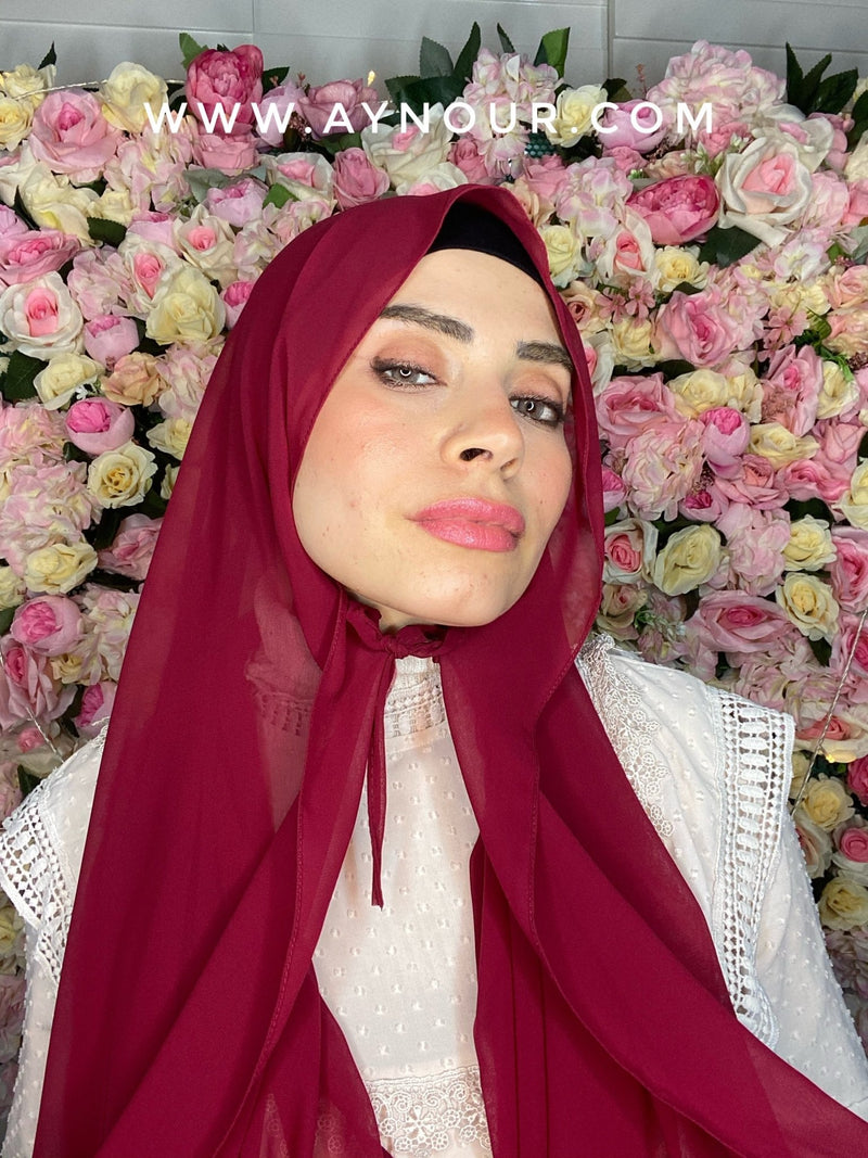 Ruby red new ribbon no pin chiffon scarf Instant Hijab 2021 - Aynour.com