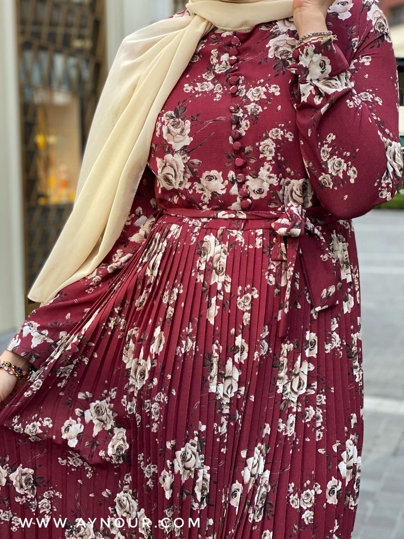 Ruby red with flowers Modest Dress with belt spring collection 2021 - Aynour.com