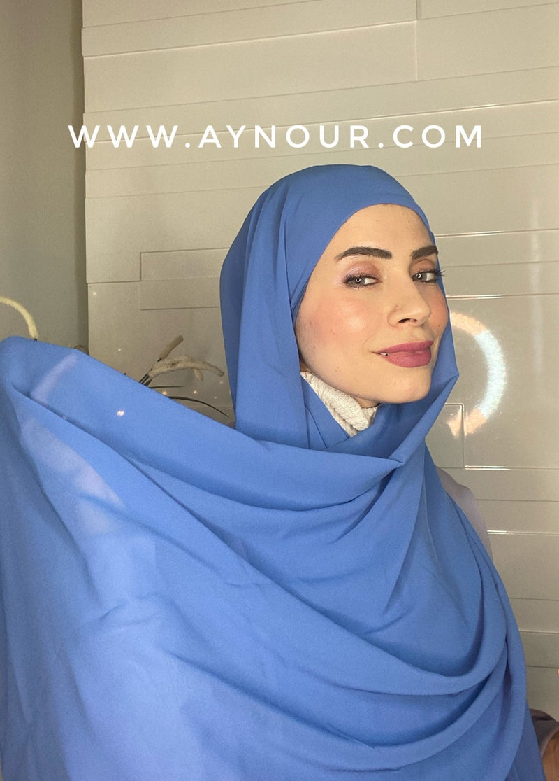 Sea Blue 2 layers inner cab and scarf Instant Hijab 2021 - Aynour.com