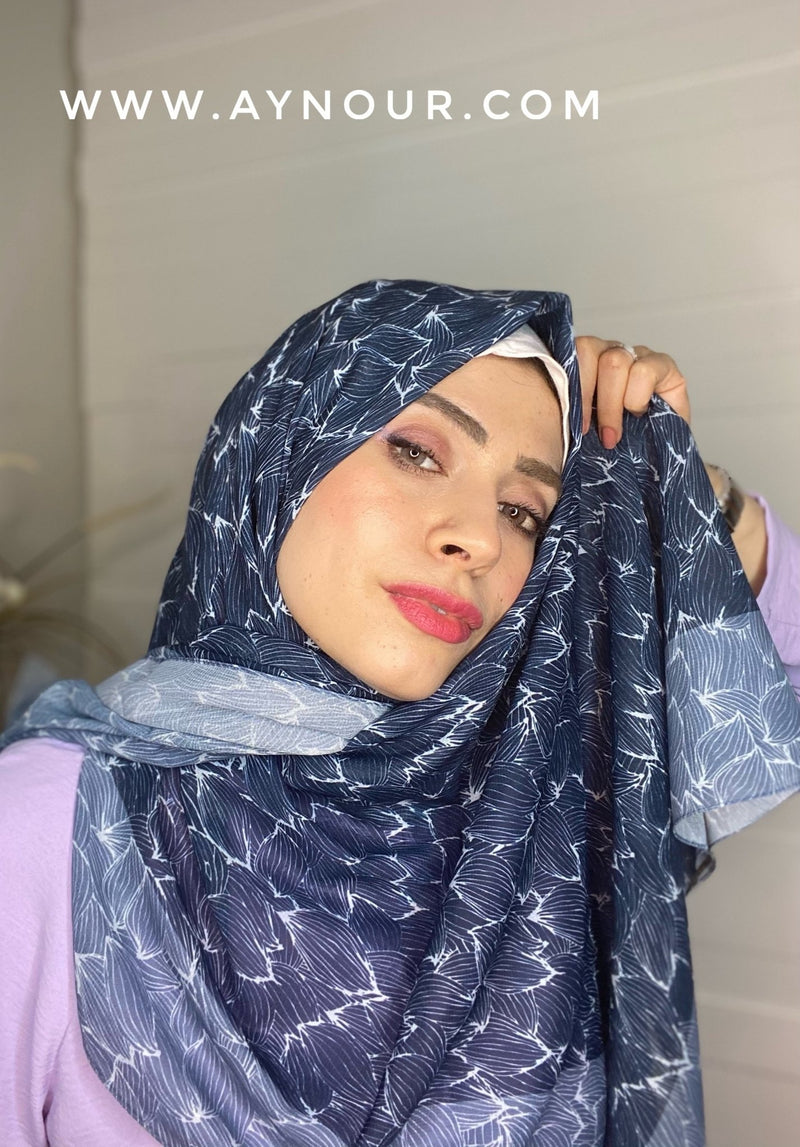sea colors mix Printed non transparent luxurious fabric Hijab 2021 - Aynour.com
