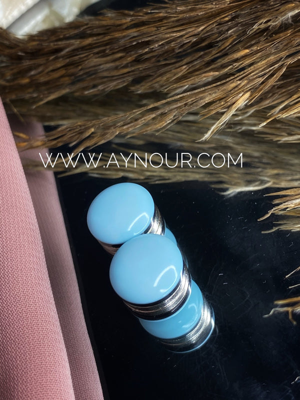 Sky blue casual Magnetic pin 2 pins luxurious color Hijab 2021 - Aynour.com