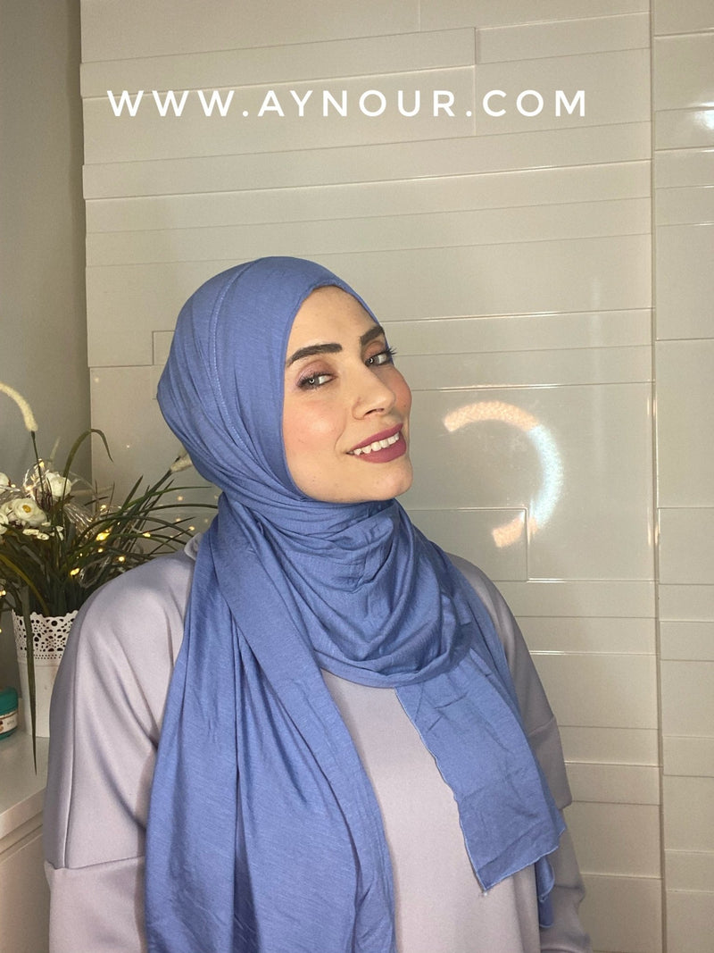 Sky Blue cotton luxrious smart no pin scarf Instant Hijab 2021 - Aynour.com
