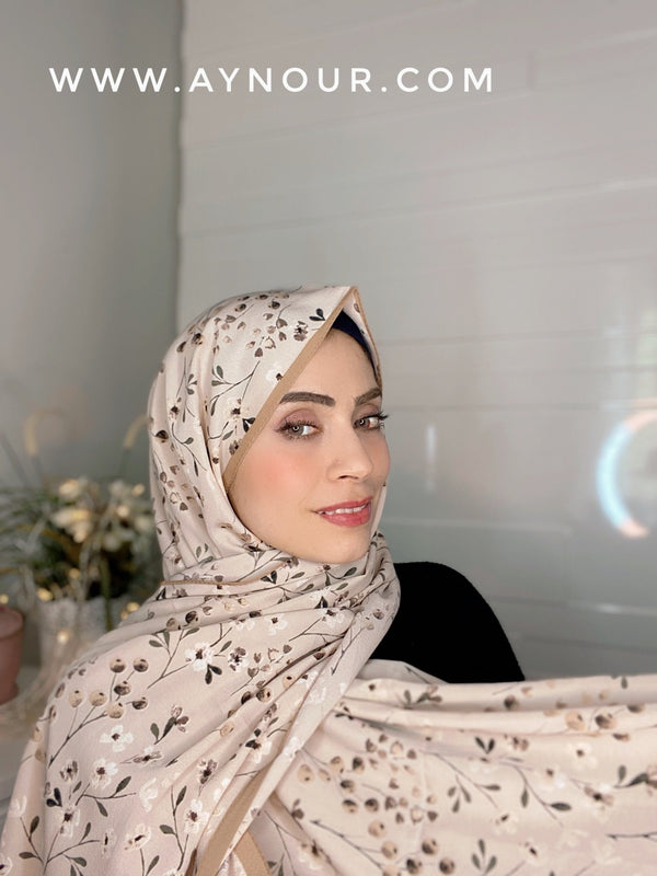 Small flowers nude Printed non transparent luxurious fabric Hijab 2021 - Aynour.com