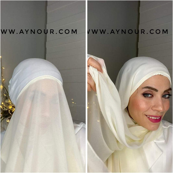 SUN SHINE WHITE 2 layers inner cab and scarf Instant Hijab 2021 - Aynour.com