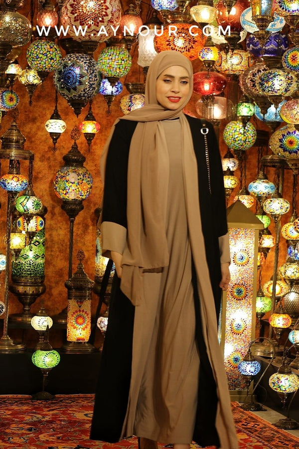 The Modest Queen black and beige Abaya 2021 - Aynour.com