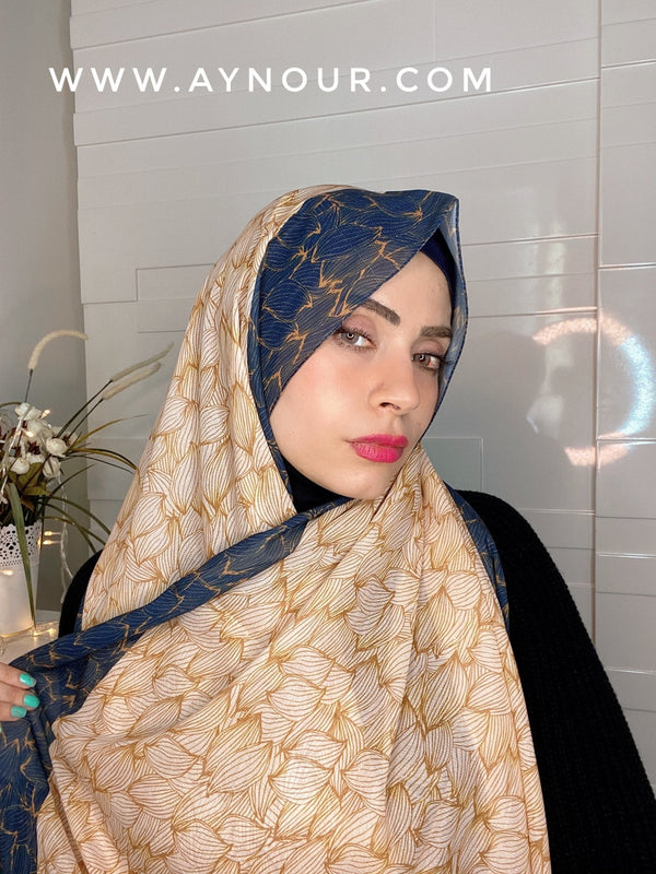 Warm colors mix Printed non transparent luxurious fabric Hijab 2021 - Aynour.com