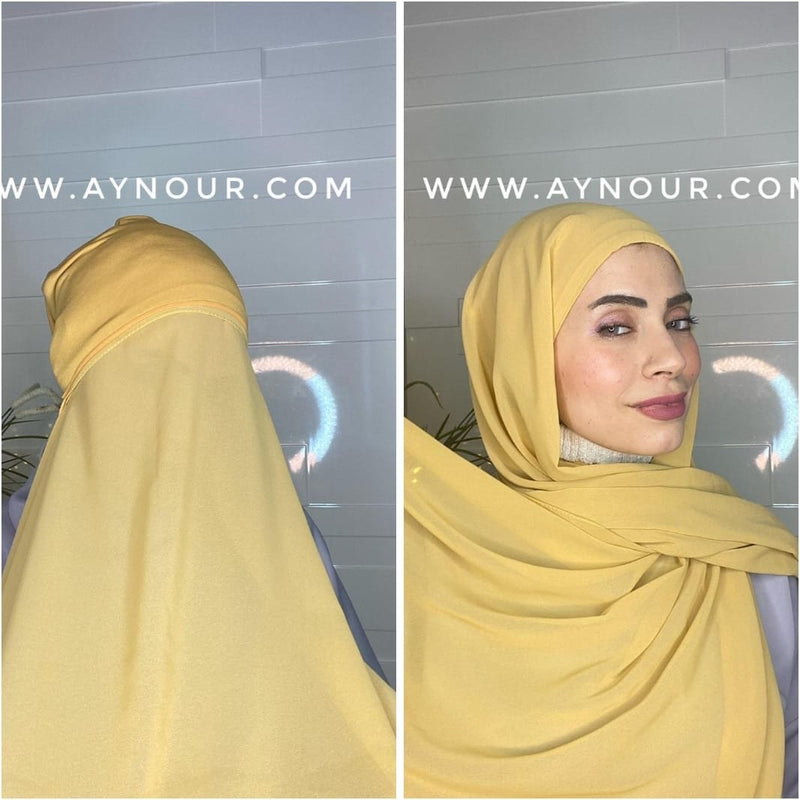 Warm Yellow 2 layers inner cab and scarf Instant Hijab 2021 - Aynour.com