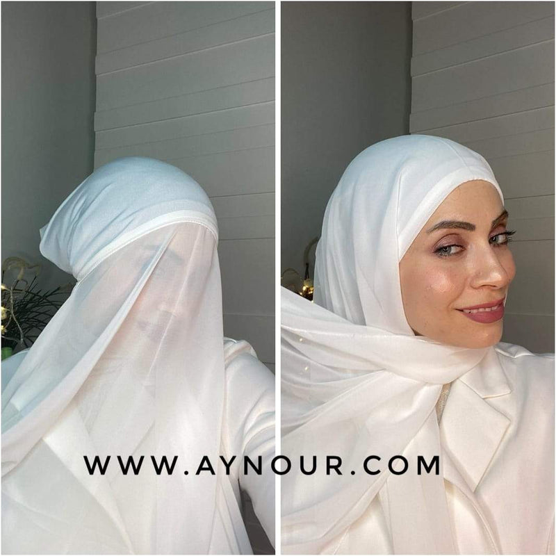 white 2 layers inner cab and scarf Instant Hijab 2021 - Aynour.com
