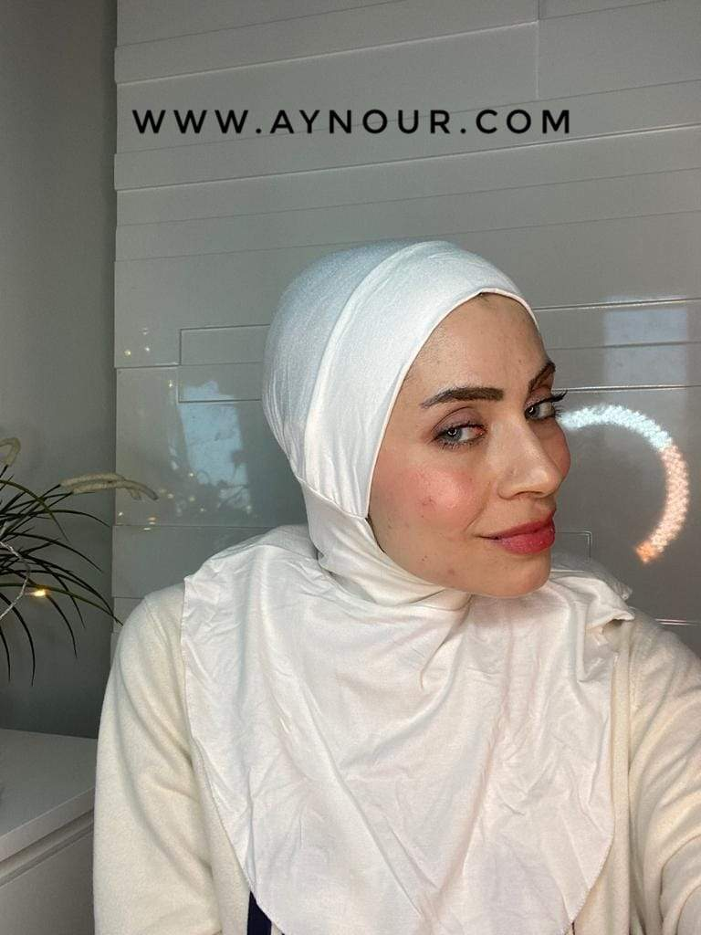 White Color cap and neck covering sporty cotton Best Instant Hijab 2021 - Aynour.com