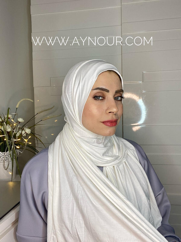 White cotton luxurious smart no pin scarf Instant Hijab 2021 - Aynour.com