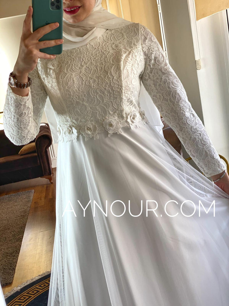 White flowers regular and plus size Modest Dress 2020 - Aynour.com