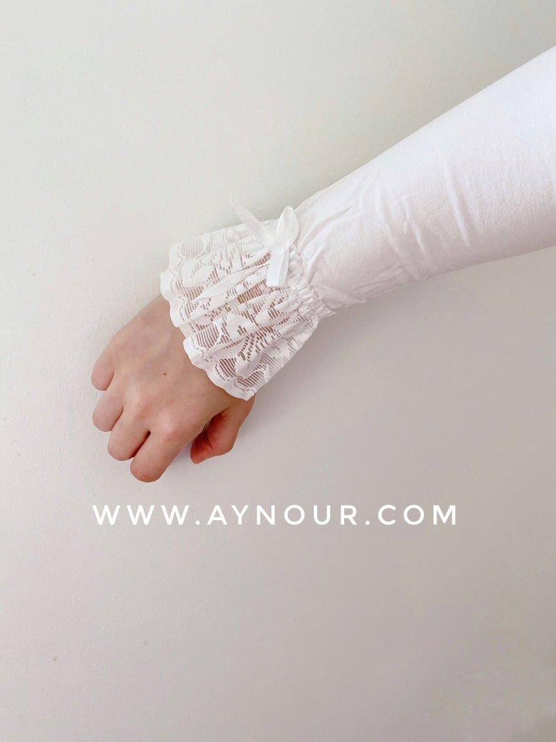 White lace end Arm Cover Up Sleeve basic hijab needs - Aynour.com