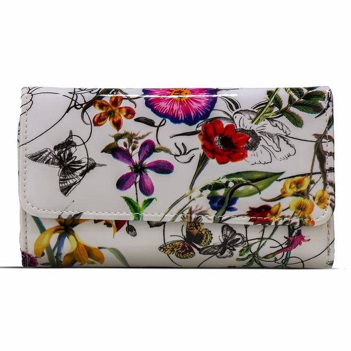 White Leather Flower Print - Medium
