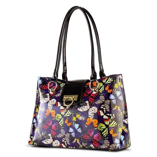 Lisa Multi Color Butterfly Print Tote