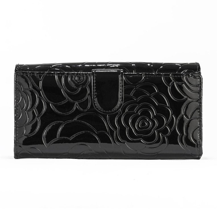 Black Leather Flower Print - Large