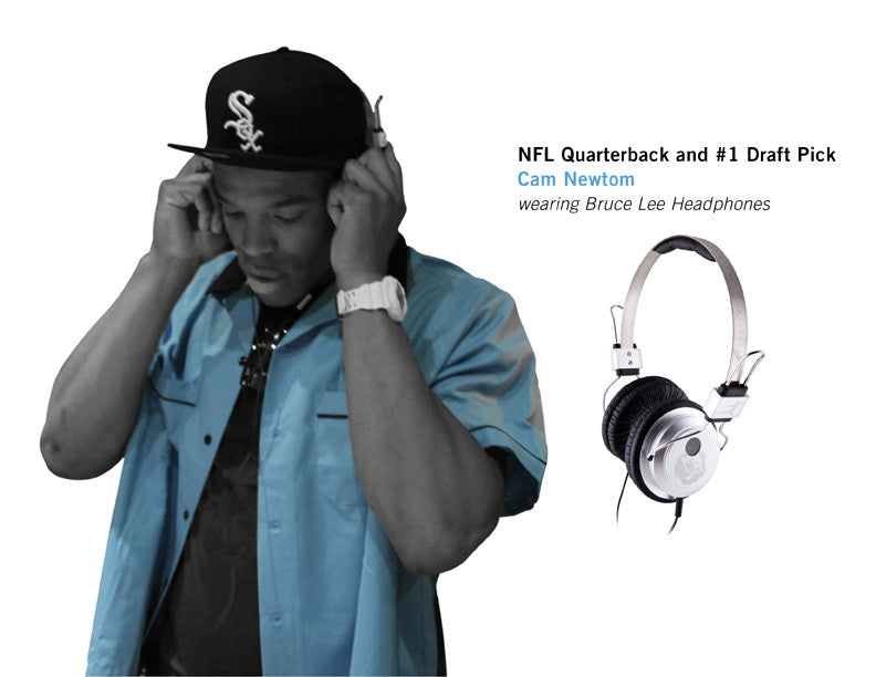 NFL Quarterback and #1 Draft Pick CAM NEWTON wearing Bruce Lee Headphones
