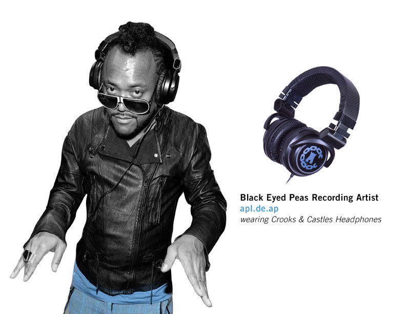 Black Eyed Peas Recording Artist APL.DE.AP wearing Crooks & Castles Headphones