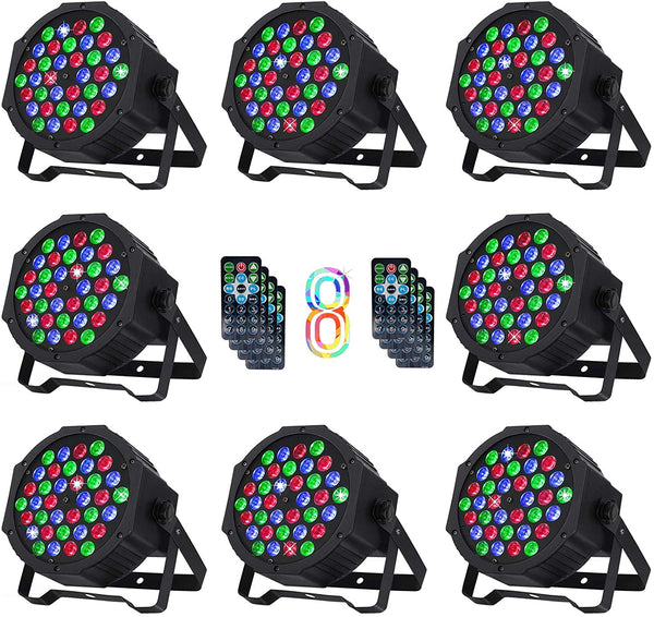 Nurxiovo DJ Lights 8 Packs Stage Light 36 X 1W RGB LEDs Sound Activated Par Lights