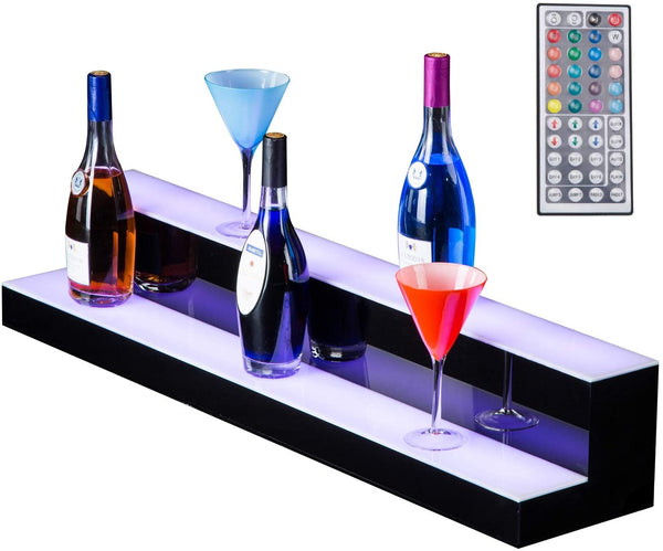 30 Inch 2 Step LED Liquor Bottle Display Shelf RGBW Illuminated Bottle Shelf sale
