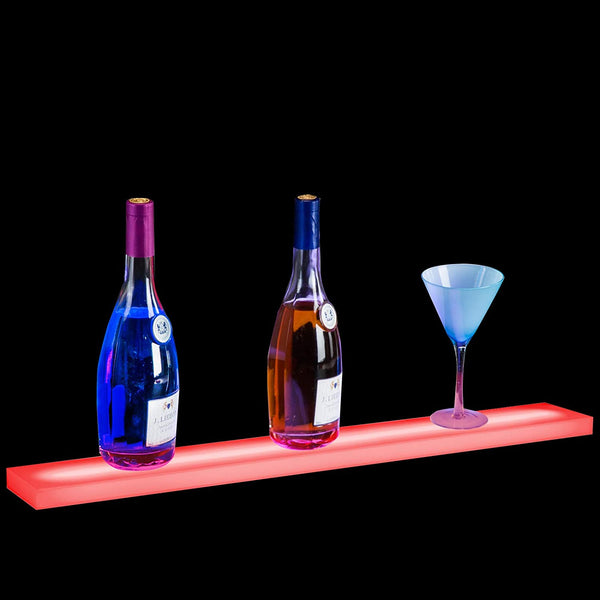 32 Inch LED Lighted Liquor Bottle Display Stand Floating Lighting Bar Shelf