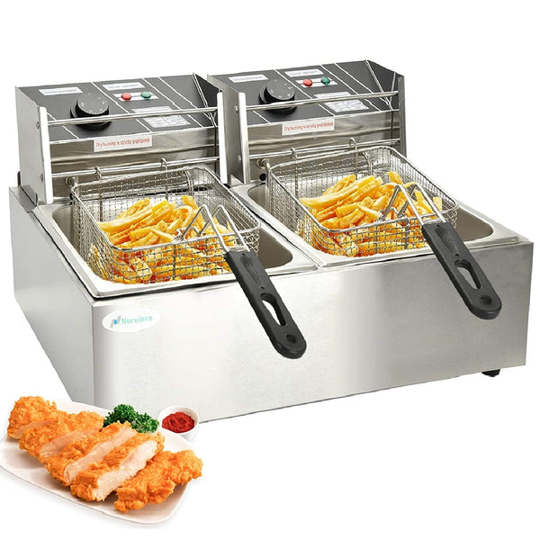 16 Liter Electric Commercial Deep Fryer with Double Basket