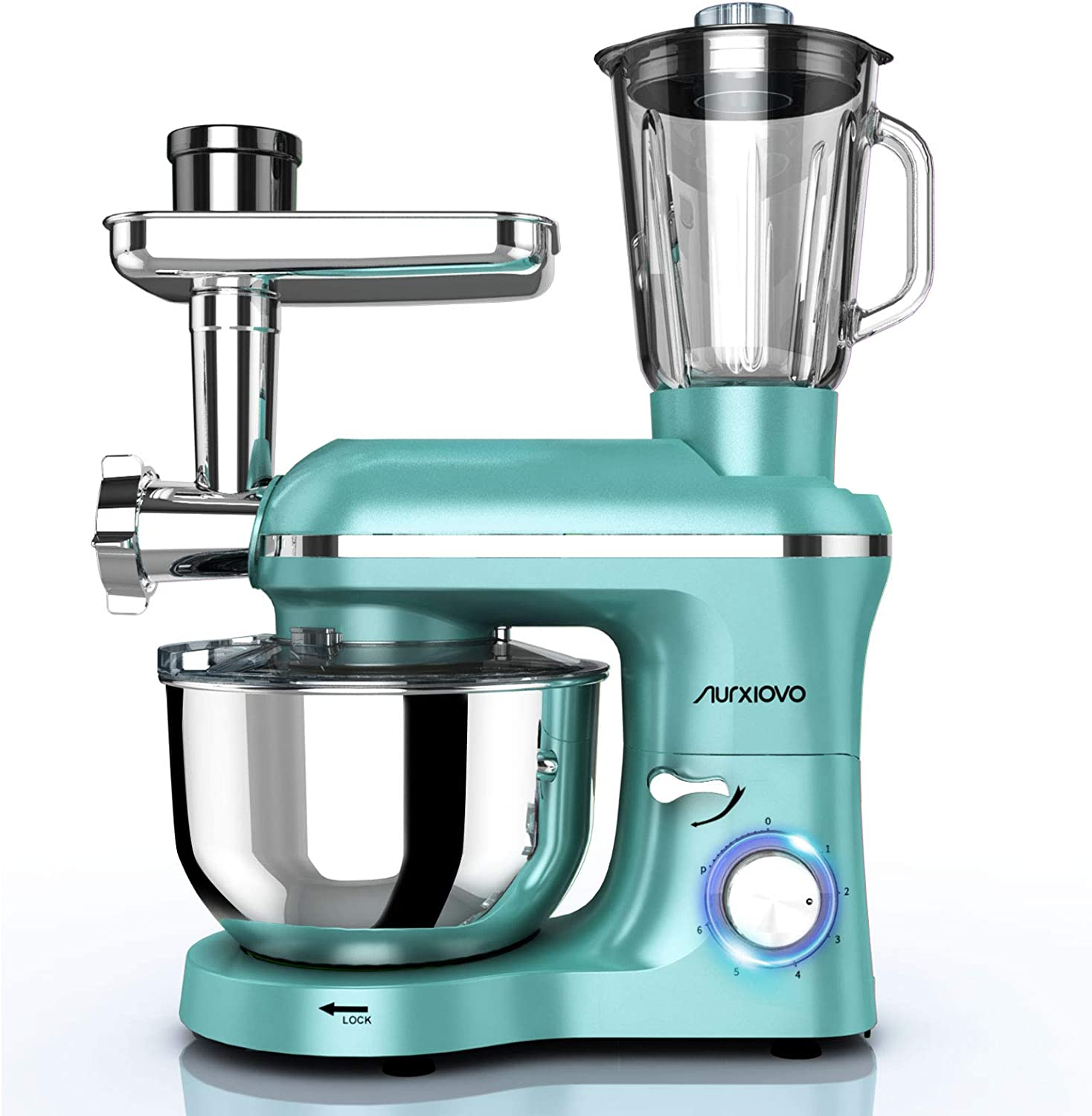 Nurxiovo 3 in 1 Stand Mixer 850W,6 Speed Tilt-Head Kitchen Standing Mixer with 6.5QT Stainless Steel Bowl, Dough Hook Whisk Beater, Meat Blender and Juice Extracter