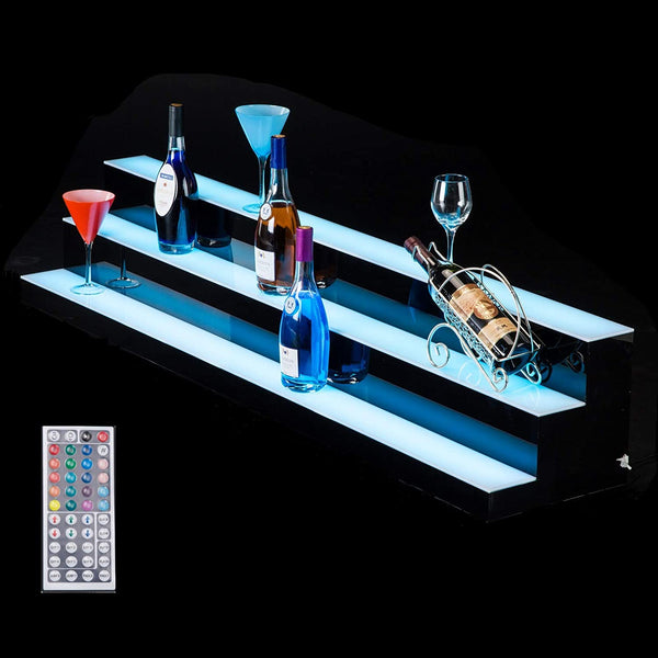 Liquor Bottle Display Shelf 60 in 3 Step LED Lighted Bar Shelf sale