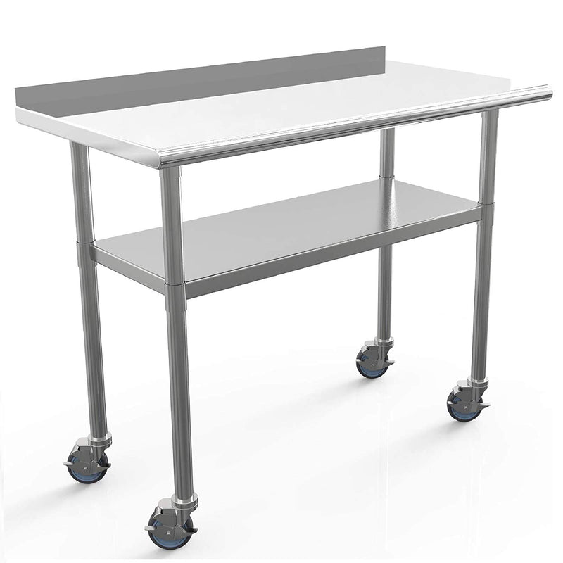 "Nurxiovo 48 x 24 Inches Commercial Work Table Stainless Steel Table sale ,with 1 1/2"" Backsplash /4 Caster Wheels"